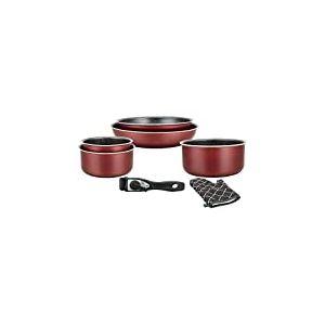 Herzberg Batterie de cuisine - lot de casserole induction - set casserole et poele tous feux - set de cuisine de 7 éléments avec casseroles et poêles revêtement marbre et poignée amovible HG 8053 BR