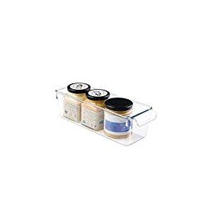 iDesign boîte de rangement à poignée, petit bac plastique pour le placard, le frigo ou le tiroir, bac alimentaire sans couvercle, transparent