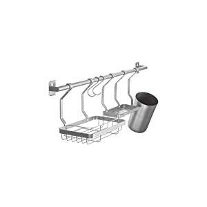 iDesign Austin rangement cuisine à fixer au mur, étagère murale en métal pour épices et ustensiles de cuisine, argenté mat