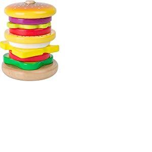 Small Foot Hamburger à empiler en bois cuisine de jeu, multicolore