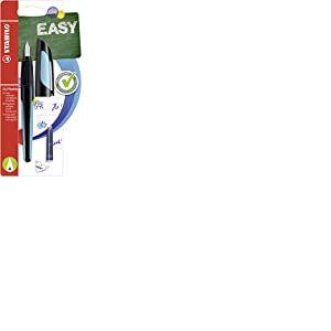 Stabilo B-53926-3 Easybuddy A Stylo d'écolier avec plume pour débutant Encre bleue effaçable avec cartouche Noir/bleu ciel