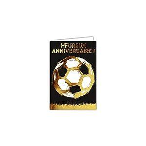 Afie 69-7022 Carte anniversaire foot ballon avec dorure Format 12 x 17,5 cm + Enveloppe Blanc