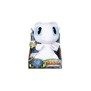 Dragons 3 - 6046845 - Jeu enfant - Peluche interactive - Peluche deluxe sonore Lightfury - Film Dragons 3 Le Monde Caché