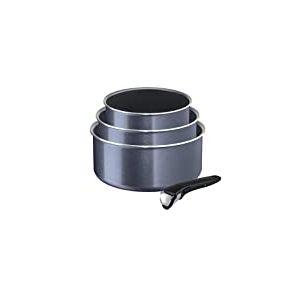 Tefal-L2319302-Ingenio Elegance Lot de 3 casseroles 16/18/20 cm + 1 Poignée Gris Pailleté Tous Feux sauf Induction
