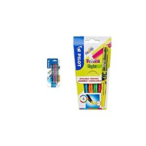 Pilot - Blister 4 FriXion Ball Clicker 0.7 - Roller effaçable - Noir/Bleu/Rouge/Vert - Pointe moyenne & Pochette de 6 FriXion Light - Surligneur - Jaune/Rose/Vert/Bleu/Orange/Violet - Pointe moyenne