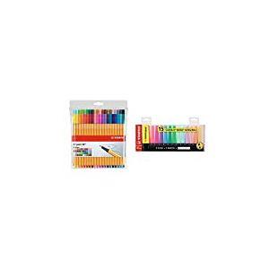 Stylo feutre pointe fine - STABILO Point 88 - Pochette de 40 stylos-feutres - Coloris assortis & Surligneur - STABILO BOSS ORIGINAL - Set de bureau x 15 surligneur - fluo et pastel assortis