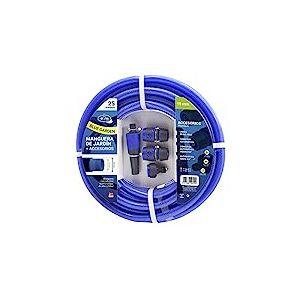 M&M's S&M 553158 Tuyau Bleu renforcé avec Accessoires (Lance d'arrosage et connecteurs) Rouleau de 25 m Ø19 intérieur x Ø25 mm (diamètre extérieur) Anti-Plis