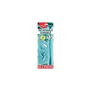 Maped Kit de Traçage INCASSABLE 4 pièces comprenant : 1 règle 30 cm, 1 équerre 60°/21cm, 1 équerre 45°/21 cm et 1 rapporteur 180°/12 cm Bleu