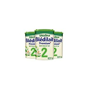 Blédina Blédilait Premium 2 (2 ème âge) - Pack de 3 Boîtes de 820 g - lait de suite en poudre pour les bébés de 6 à 12 mois - formule épaissie