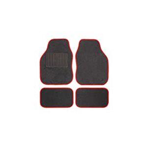 Safe Travel 27652 Tapis de sol universels pour véhicules à conduite à gauche, Talon soudé, Coutures de couleur Rouge
