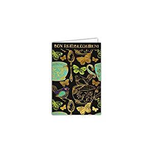 Afie 69-7029 Carte bon rétablissement thé oiseau avec dorure Format 12 x 17,5 cm + Enveloppe Blanc