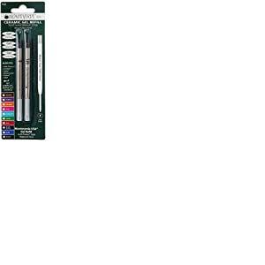 Monteverde Recharge Gel sans capuchon Pointe fine compatible Stylo à bille Parker - Noir (Lot de 2)