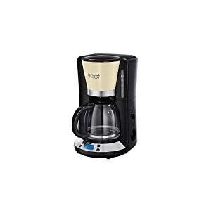 Russell Hobbs Machine à Café Colours Plus 1.25L, Cafetière Filtre Programmable 24h, Affichage Digital, Maintien au Chaud - Crème 24033-56