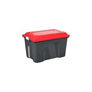 Sundis 4552001 Malle de Rangement Locker, Plastique, Noir/Rouge, 60L