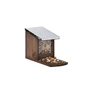 Relaxdays, Mangeoire en bois, toit en métal étanche, à poser, Hutte pour écureuil, marron, Brun foncé