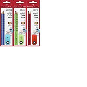 Faber-Castell 182414–Crayon GRIP 2001Lot de 2crayons de papier, et 1Gomme couleurs assorties