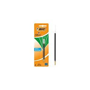 BIC 4 Couleurs Recharges Stylo-Bille Pointe Moyenne (1,0 mm) - Vert, Blister de 2