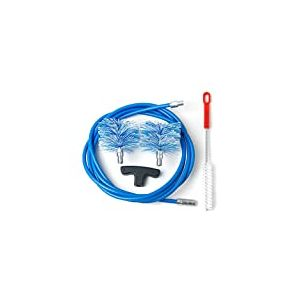 BARETTO - Kit 3 Mètres de Ramonage - 2 Brosses Pellet 80 et 100mm - Kit Nettoyage de Poêle à Pellets / Granulés