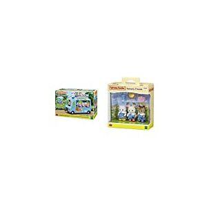 SYLVANIAN FAMILIES-Le Bus Arc-en-Ciel Animaux Mini-Univers, 5317, Multicolore & Nursery Friends Families Les Amies De Creche, 5262, Multicolore