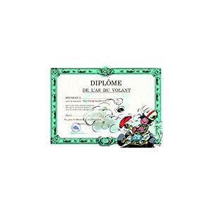 Gaston Lagaffe Carte double avec enveloppe Diplôme de l'As du Volant - Conducteur Conductrice Permis de Conduire Voiture Karting Conduite sportive mille bornes