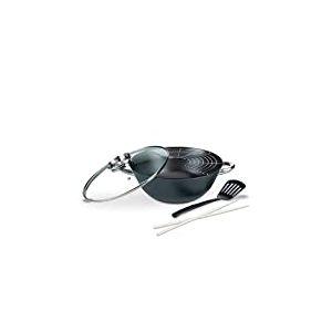 GSW 860956Professionnel Fonte Pot Multifonction/Wok avec Couvercle en Verre 5pièces/6,2L, Noir, 32cm 5unités