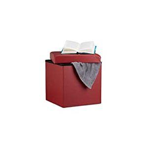 Relaxdays Pliable 38x 38x 38cm Tabouret Pouf Cube UMD Repose-Pieds, Pouf Cube en Cuir synthétique, avec Espace de Rangement et Couvercle, Rouge foncé