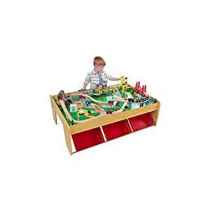 KidKraft 17850 Ensemble table circuit de train en bois Waterfall Mountain, jouet enfant incluant 120 pièces