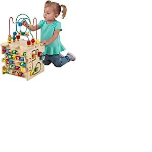 KidKraft 63298 Cube d'activités en bois Deluxe, jeu d'éveil premier âge, boulier enfant pour apprendre à identifier les couleurs, formes, lettres et chiffres
