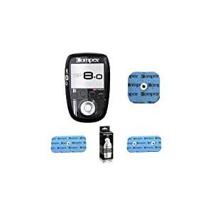 Compex SP 8.0, Pack avec 4 Electrodes EasySnap 5x5cm, 2x2 Electrodes Easysnap 5x10cm et 1 Gel conducteur