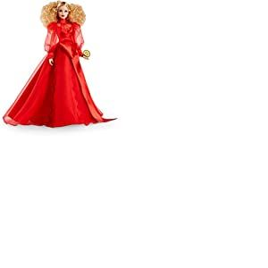 Barbie Signature poupée de collection blonde en robe rouge glamour, édition 75 ans Mattel, jouet collector, GMM98