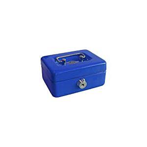 144003 Wedo Tirelire pour enfant avec fente, 5 compartiments pour la monnaie, serrure de sécurité en tôle d'acier, 2 clés, bleu