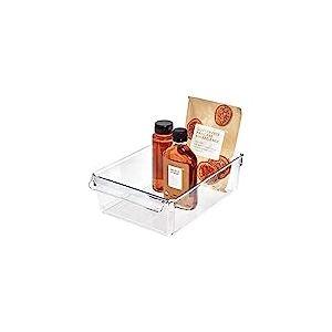 iDesign boîte de rangement à poignée, grand bac plastique pour le placard, le frigo ou le tiroir, bac alimentaire sans couvercle, transparent