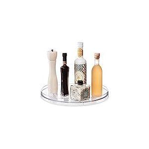iDesign plateau tournant, extra-grand plateau pivotant en plastique pour épices et ingrédients de cuisine, socle tournant pour le placard, transparent