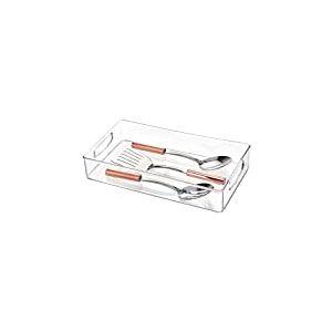 iDesign bac rangement frigo, longue boîte alimentaire en plastique, boîte conservation alimentaire à poignées, transparent