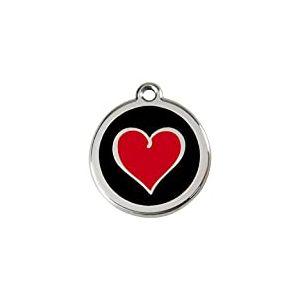 Red Dingo Médaille pour Chien Noir Cœur Rouge 38 mm