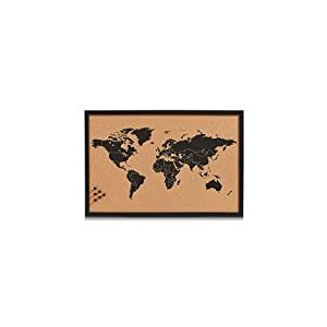 Zeller 11571 Tableau World 60x40cm en liège Noir, Bois, Marron, 60 x 40 x 60 cm