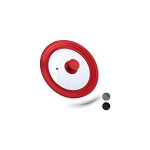 Relaxdays 10027987_47 Couvercle Flexible, Verre, Universel, Rebord Silicone, Trou de Vapeur, Casseroles, poêles, D 20-24 cm, Rouge