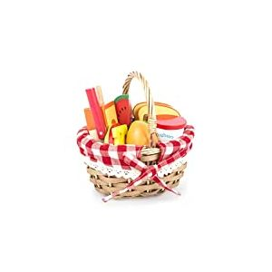 Small Foot 11282 Panier Pique-Nique avec Aliments à découper en Bois, Accessories Boutique marchande, Jouet pour Jeu de rôle pour Enfants à partir de 3 Ans