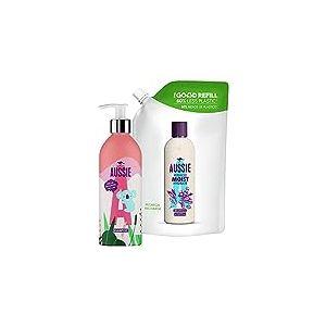 Aussie, Shampoing Miracle Moist, Kit Bouteille Rechargeable Écologique et sans Plastique + 1 Recharge, Total 910ml