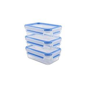 Emsa 508570 Alimentaires Clip & Close, Plastique, Transparent/Bleu, 0,55 Litre, Lot de 3 Boîtes