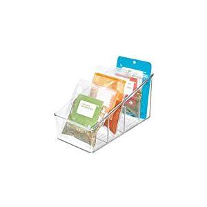 iDesign boîte de rangement à 4 compartiments, grand bac plastique pour aliments emballés ou épices, bac alimentaire, transparent