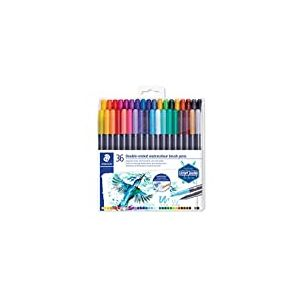 Staedtler Feutres de coloriage aquarellables à double pointe, Pointe pinceau 1-6 mm et pointe fine 0.5-0.8 mm, Étui plastique avec 36 couleurs différentes assorties, 3001 TB36