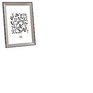 Deknudt Frames S45FD2 Cadre Photo avec Filet Résine Argenté/Noir 15 x 20 cm