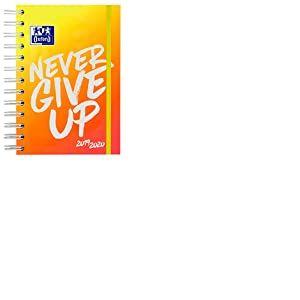 Oxford Agenda scolaire Never give up NEON 12 x 18 cm 1 jour par page 160 feuilles avec double spirale SCRIBZEE orange