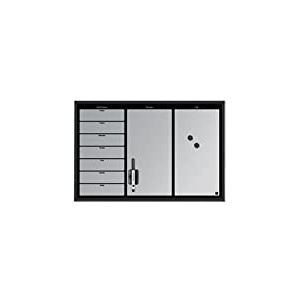 Bi-Office Tableau planning Hebdomadaire + Messages + Notes 60 x 40 cm Noir