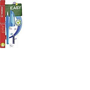 Stabilo 51564-3pour stylo-plume-Easy Buddy en-Couleur d'Encre Bleu (effaçable)-avec 2cartouches-avec débutants de plume A Bleu foncé/bleu clair