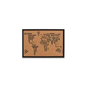 Zeller 11570 Tableau World Letters 60x40cm en liège Noir, Bois, Marron, 60 x 40 x 60 cm