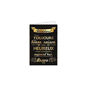 Afie 69-7051 Carte félicitations texte heureux avec dorure Format 12 x 17,5 cm + Enveloppe Blanc