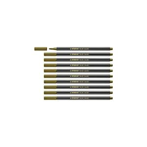 Feutre métallisé - STABILO Pen 68 metallic - Lot de 10 feutres métallisés pointe moyenne - Or