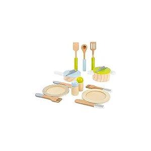 small foot 11098 Service de table et lot de casseroles en bois, avec assiettes, couverts, soupoudreuse, casserole,poêle et ustensiles de cuisine.